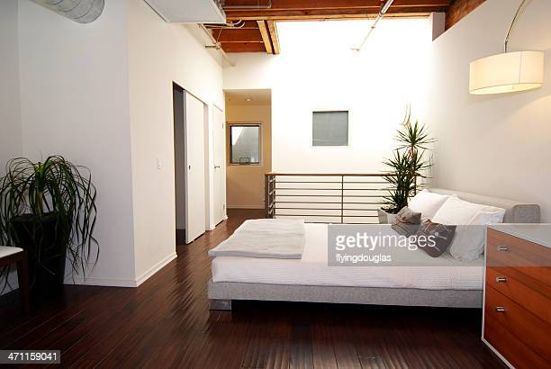 loft bedroom - feng shui stock photos and pictures
