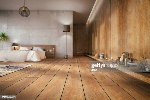 loft bedroom - wooden floor stock pictures, royalty-free photos & images