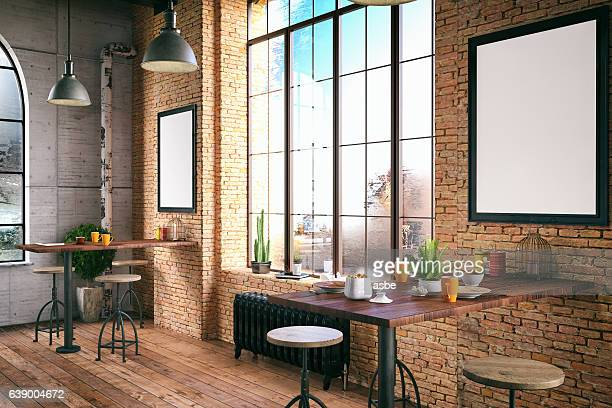 loft cafe - vintage restaurant stock pictures, royalty-free photos & images