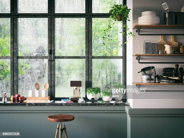 loft kitchen - window stock pictures, royalty-free photos & images