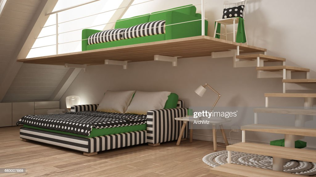 Loft Mezzanine One Room Minimalist Living And Bedroom, White And Green  Scandinavian Interior Design. Dieses Bild Lizenzieren