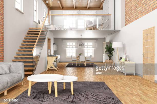 loft room avec mezzanine - mezzanine photos et images de collection