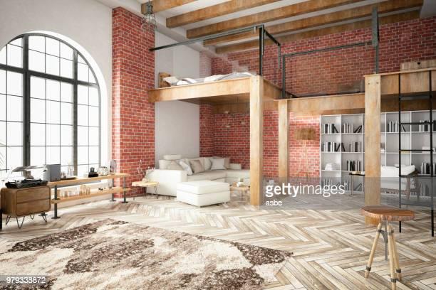 chambre loft avec mezzanine - mezzanine photos et images de collection