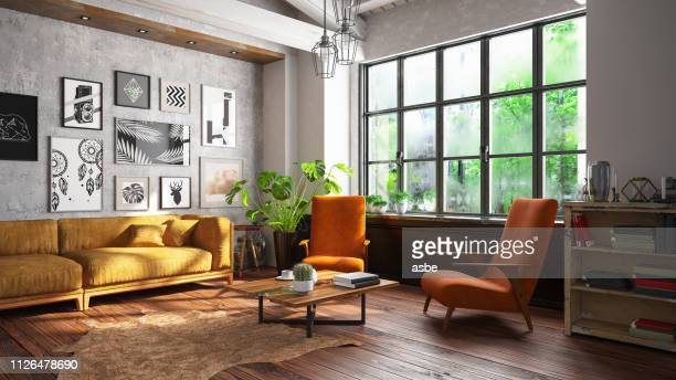 loft room with sofa and pictures - architectural feature stock pictures, royalty-free photos & images