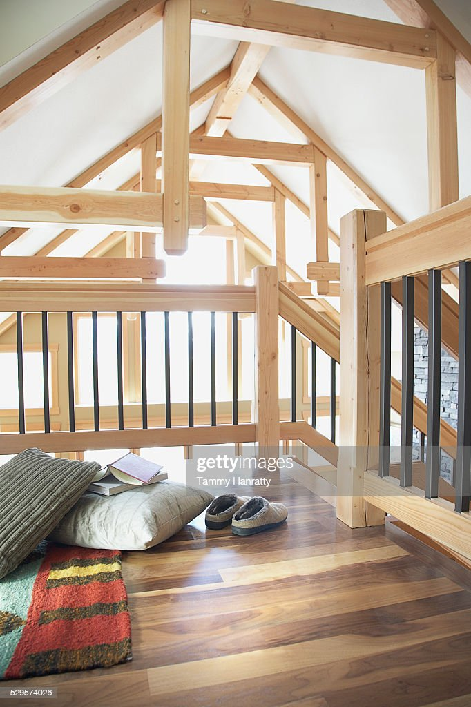 Loft space in chalet : Stock Photo