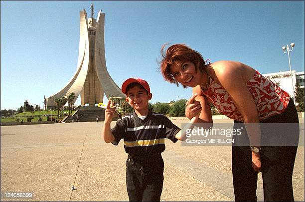 'Loft Story' star Kenza back in her native country Algeria In Algiers Algeria On June 05 2001 In front of 'monument of Martyrs'