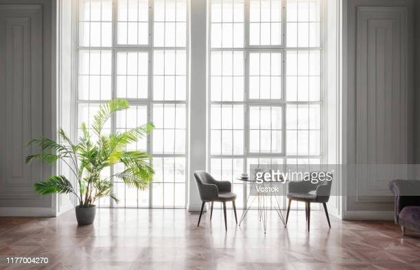 loft studio apartment in a classic style - french doors stock pictures, royalty-free photos & images
