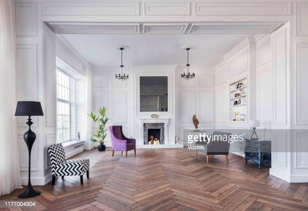 loft studio apartment in a classic style - wooden floor stock pictures, royalty-free photos & images