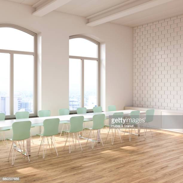 loft with conference table and view at skyline - sonnig imagens e fotografias de stock