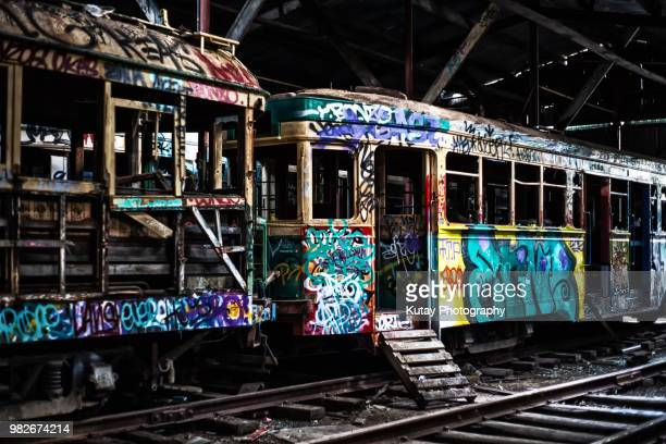 loftus tram shed - train graffiti stock photos and pictures