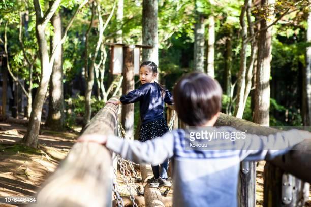 ログ ブリッジ型遊具公園で。子供たちが遊んでいます。 - つり橋 ストックフォトと画像