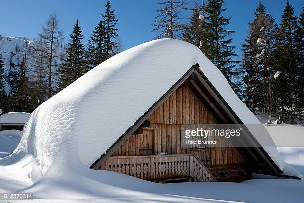 Log cabin covered with snow