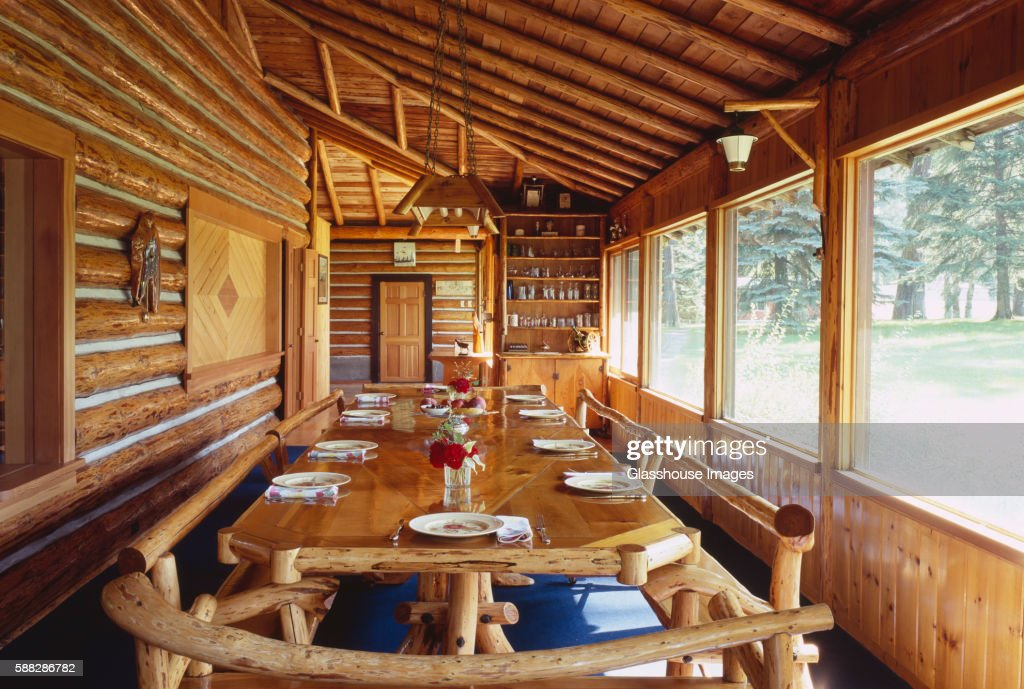 Log Cabin Dining Room : Stock Photo