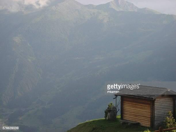 Log cabin in alps, Verbier, Valais, Switzerland