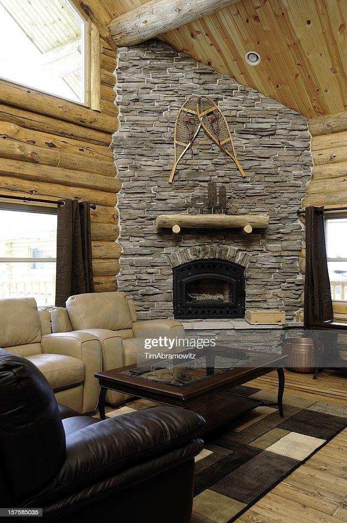 Log Cabin Living Room : Stock Photo