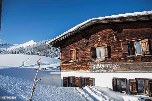 log cabin on snowy mountainside - chalet de montagne photos et images de collection