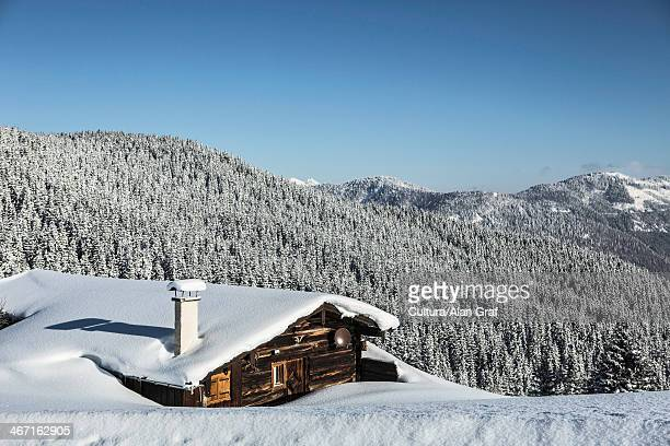 log cabin on snowy mountainside - seefeld stock photos and pictures