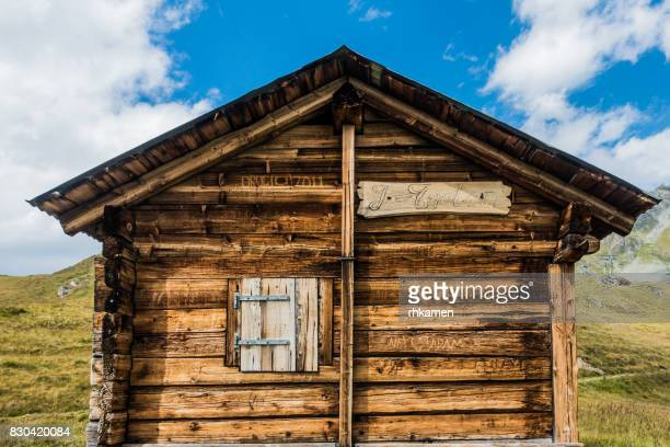 log cabin, verbier, valais, switzerland - hut stock pictures, royalty-free photos & images