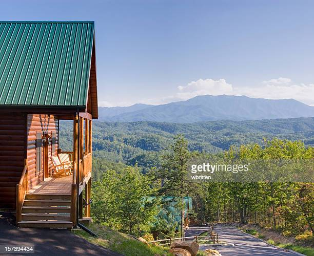 log cabin with stunning view - great smoky mountains national park stock pictures, royalty-free photos & images