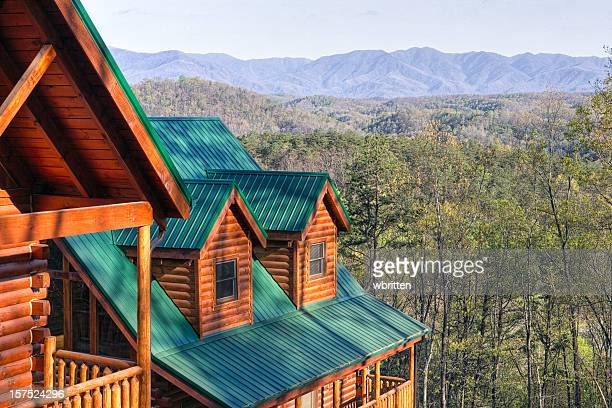 log cabins in the smoky mountains (xxl) - tennessee stock pictures, royalty-free photos & images