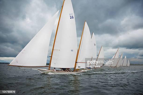 log canoe sailing regatta  - 帆 ストックフォトと画像