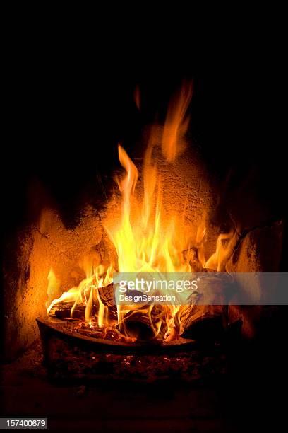 Log fuego con llamas