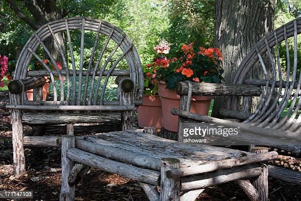 Log Furniture in Shade Garden
