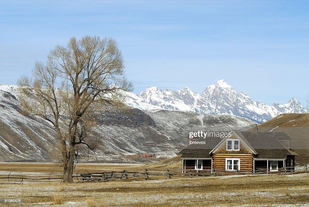 Log House on Prairie : Stock Photo