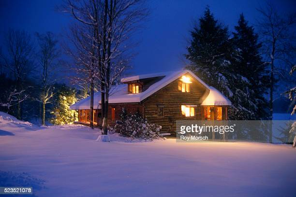 Log House on Winter Night