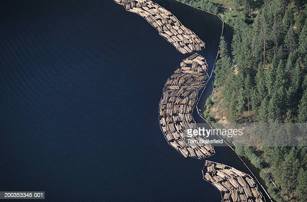 Log rafts being floated in river to sawmill, Idaho, USA, (Aerial view)
