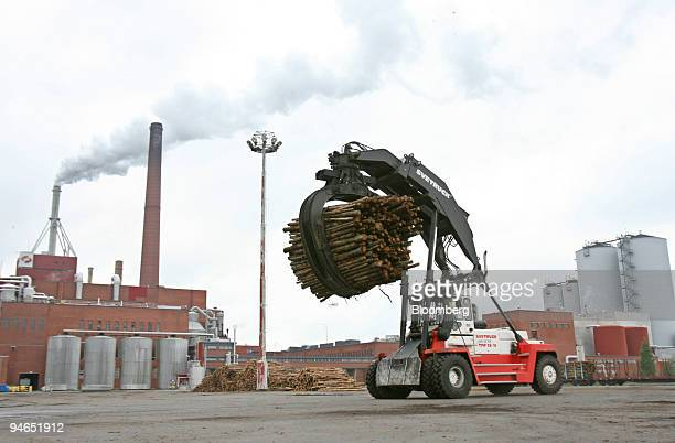 A log transporter moves logs at the Stora Enso paper mill in Oulu Finland Monday Aug 13 2007 Stora Enso Oyj the world's largest paper maker said...