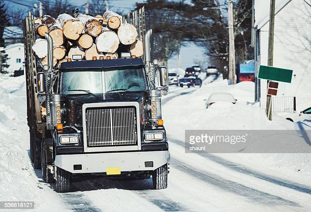 Log Truck in Small Town