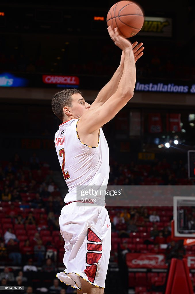 Logan Aronhalt #2 of the Maryland Terrapins shoots the ball against the IUPUI Jaguars at the Comcast Center on January 1, 2013 in College Park, Maryland.