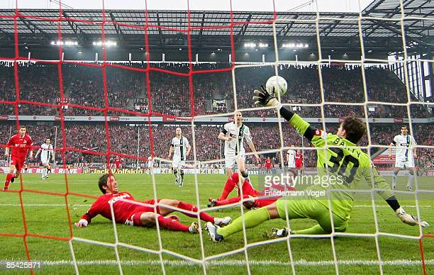Logan Bailly of M'gladbach saves the ball during the Bundesliga match between 1. FC Koeln and Borussia Moenchengladbach at the RheinEnergie stadium...