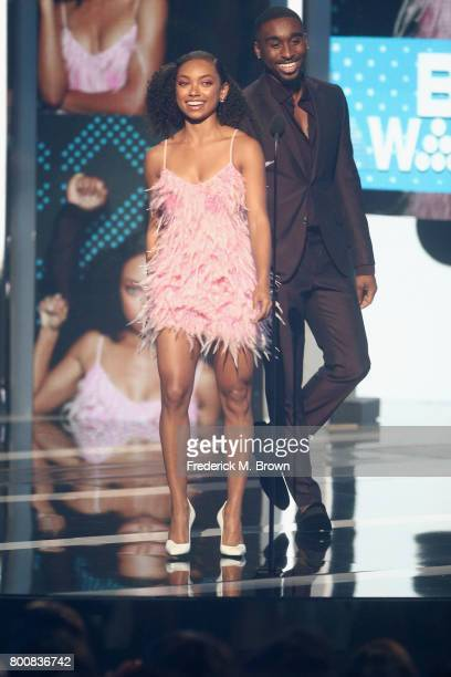 Logan Browning and Demetrius Shipp Jr speak onstage at 2017 BET Awards at Microsoft Theater on June 25 2017 in Los Angeles California