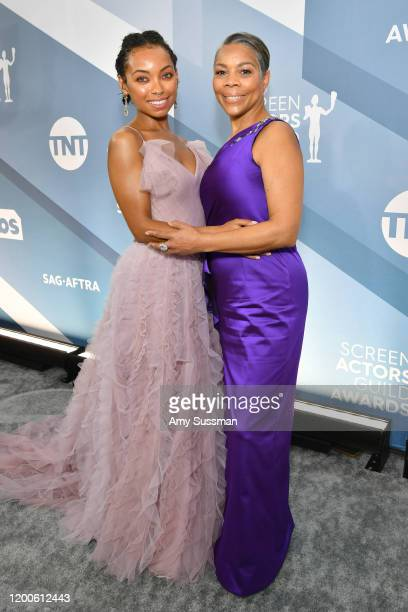 Logan Browning and Lynda Browning attend the 26th Annual Screen ActorsGuild Awards at The Shrine Auditorium on January 19 2020 in Los Angeles...