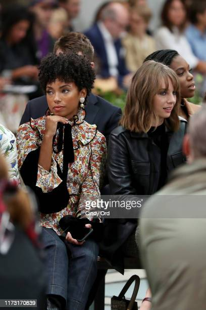 Logan Browning and Maya Hawke attend Tory Burch NYFW SS20 at the Brooklyn Museum on September 08 2019 in Brooklyn City