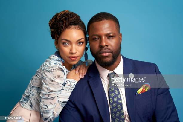 Logan Browning and Winston Duke of TV One's 'NAACP Image Awards Nominations' pose for a portrait during the 2019 Winter TCA at The Langham Huntington...