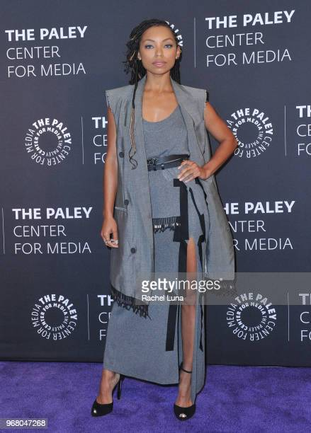 Logan Browning arrives at An Evening With 'Dear White People' at The Paley Center for Media on June 5 2018 in Beverly Hills California