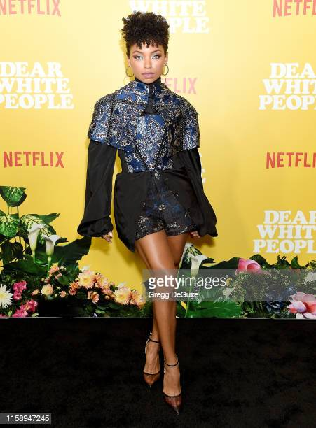 Logan Browning arrives at the premiere of Netflix's Dear White People Season 3 at Regal Cinemas LA Live on August 1 2019 in Los Angeles California