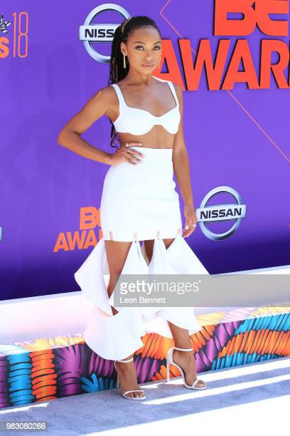 Logan Browning attends the 2018 BET Awards at Microsoft Theater on June 24 2018 in Los Angeles California