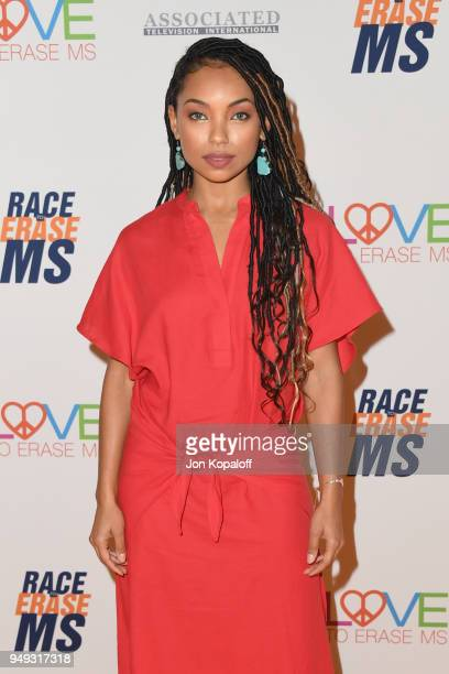 Logan Browning attends the 25th Annual Race To Erase MS Gala at The Beverly Hilton Hotel on April 20 2018 in Beverly Hills California