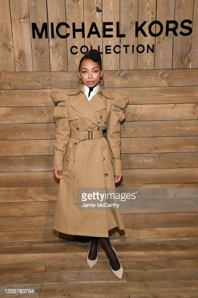Logan Browning attends the Michael Kors FW20 Runway Show on February 12, 2020 in New York City.