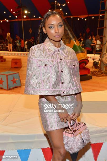 Logan Browning attends the Moschino Spring/Summer 19 Menswear and Women's Resort Collection at Los Angeles Equestrian Center on June 8 2018 in...
