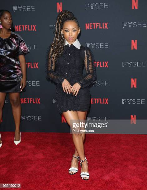 Logan Browning attends the Netflix FYSEE Kick-Off at Netflix FYSEE At Raleigh Studios on May 6, 2018 in Los Angeles, California.