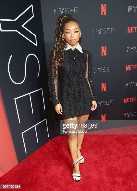 Logan Browning attends the Netflix FYSEE KickOff at Netflix FYSEE At Raleigh Studios on May 6 2018 in Los Angeles California