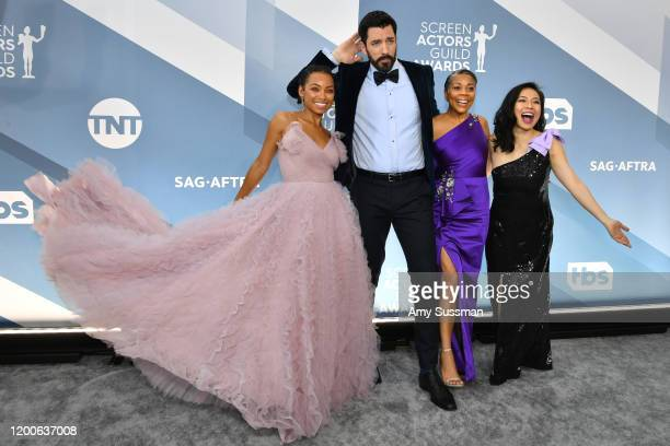 Logan Browning Drew Scott Lynda Browning and Linda Phan attend the 26th Annual Screen ActorsGuild Awards at The Shrine Auditorium on January 19 2020...
