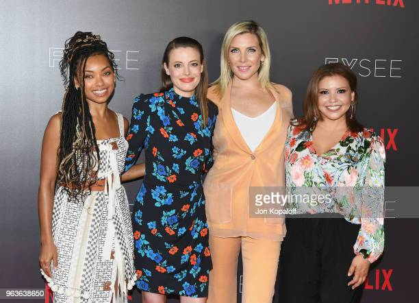 Logan Browning Gillian Jacobs June Diane Raphael and Justina Machado attend Comediennes In Conversation at Netflix FYSEE at Raleigh Studios on May 29...