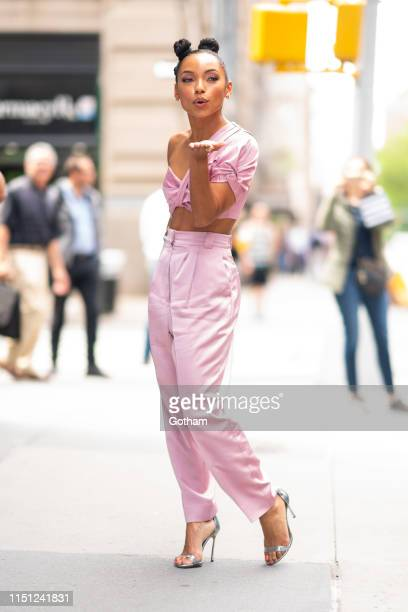 Logan Browning is seen outside the Build Studio on May 23 2019 in New York City