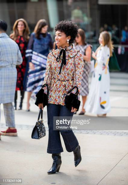 Logan Browning is seen outside Tory Burch during New York Fashion Week September 2019 on September 08 2019 in New York City